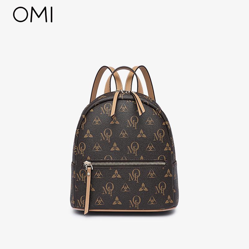 欧米OMI双肩包女2021新款包包潮流时尚韩版书包简约大学生背包ZB