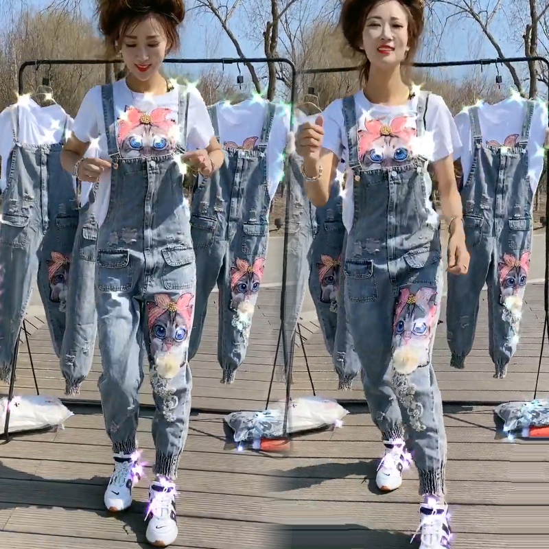 New fashion heavy industry three-dimensional nail bead bright flower lovely kitten hole washing cowboy suspender conjoined Pants Set