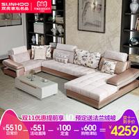 Мебель из двух тигров, сочетание гостиной и гостиной комплект Простой подарок поколение Многоязычный широкоформатный U-образный диван 027