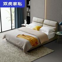 双虎家私 北欧实木软床1.5米1.8m双人床真皮床轻奢高箱储物床611N