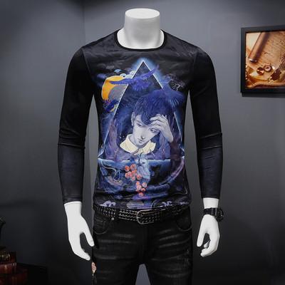 2018秋季新款 高品质 天丝加厚个性印花长袖T恤 MH635-P75控价108