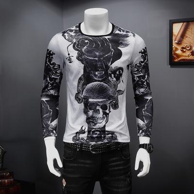2018秋季新款 高品质 天丝加厚个性印花长袖T恤 MH650-P75控价108