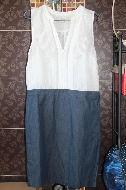 European and American sweet summer foreign trade original order big brand tail cargo womens Cotton White Blue V-neck sleeveless dress skirt
