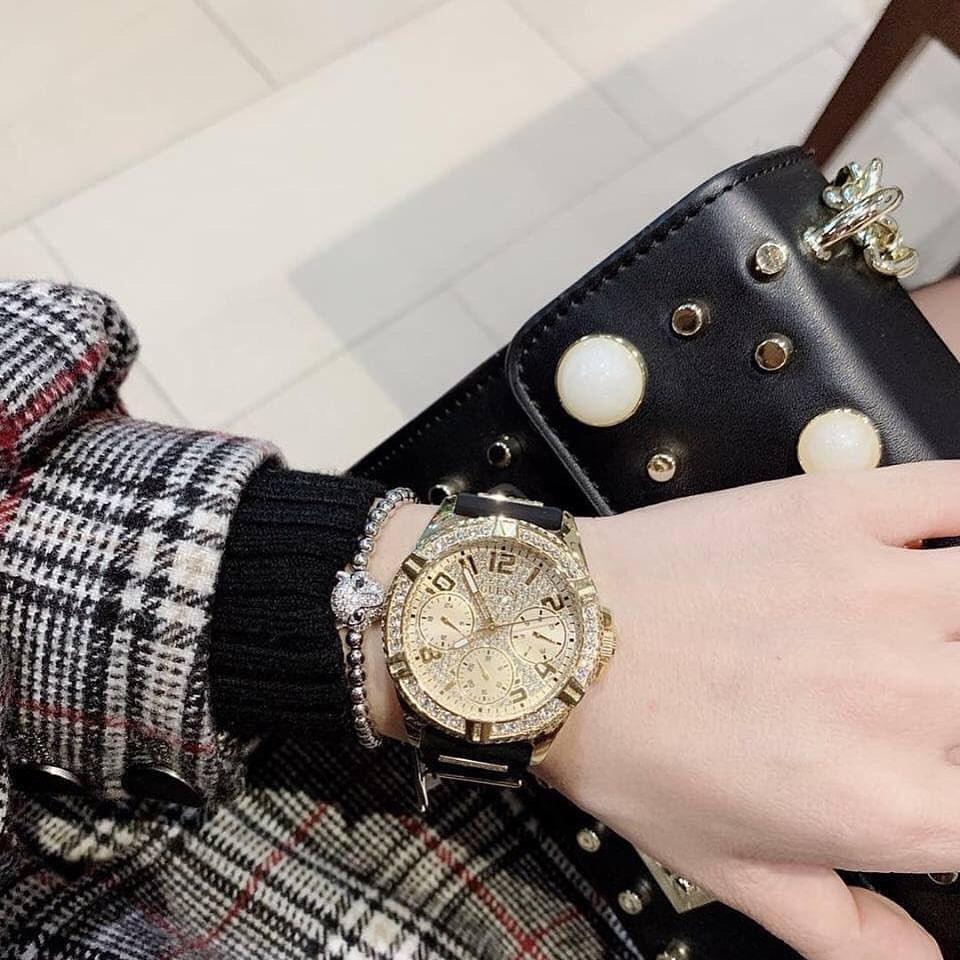 代购正品GUESS腕表U1160L1硅胶表带黑金镶钻大表盘三眼石英女手表