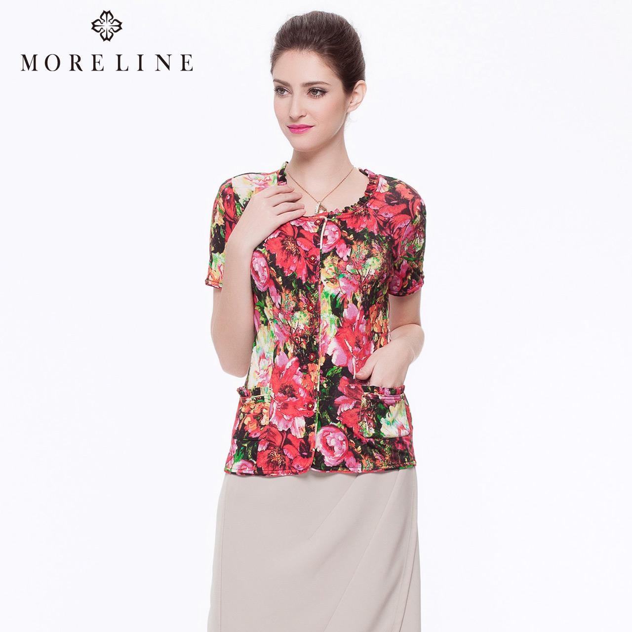 MORELINE沐兰夏装精品浪漫印花短款修身短袖衬衫女上衣7249932