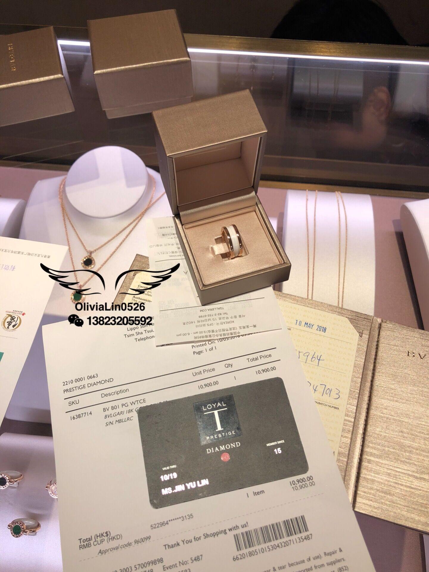 香港免税店专柜代购宝格丽bvlgar男女对戒白陶瓷窄版戒指情侣对戒