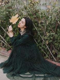 法式復古少女桔梗智燻連衣裙收腰顯瘦氣質蓬蓬長裙子仙女超仙森系