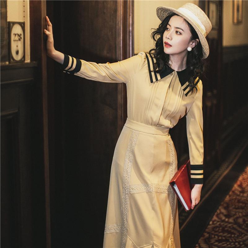 (用5元券)2019初秋海军领上衣配半身裙两件套