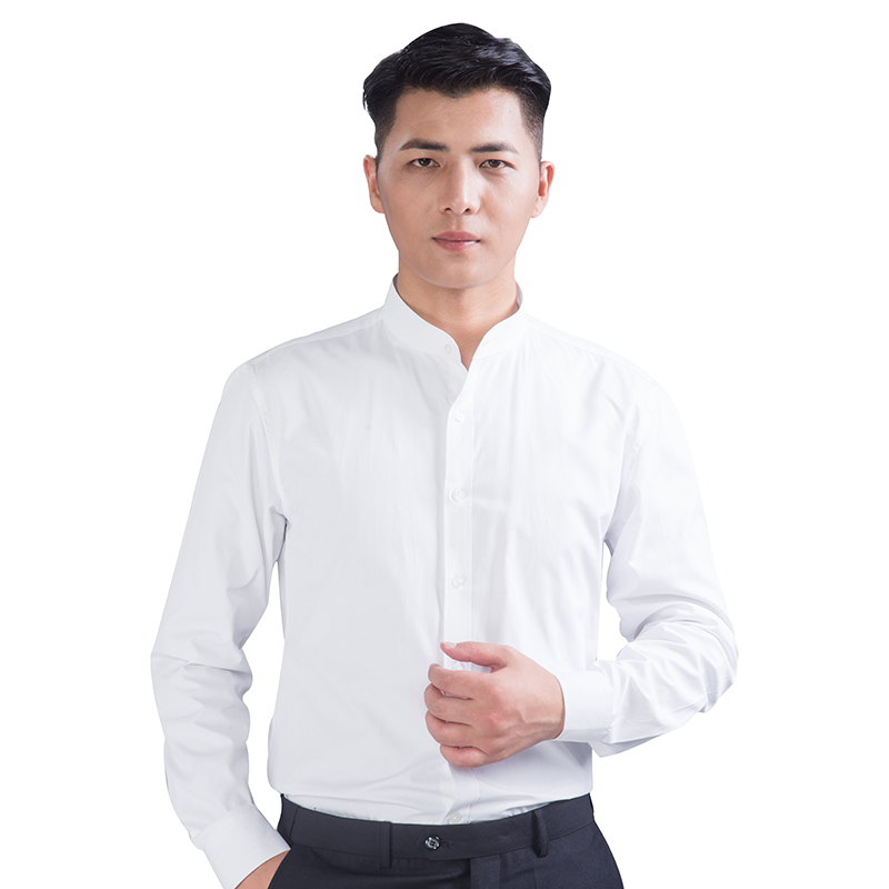 Stand collar Long Sleeve Shirt Mens slim youth leisure autumn white round collar shirt wrinkle free and iron free Cotton autumn shirt