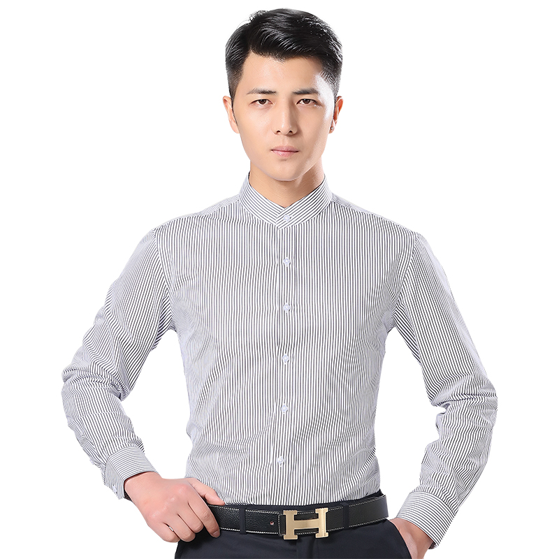 Stand collar Long Sleeve Shirt Mens slim youth stripe Round Neck Shirt business leisure autumn thin, no iron, wrinkle resistant