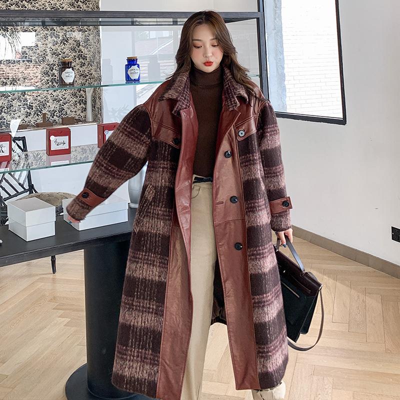 Lin Ailin tweed coat womens medium long Wool Plaid woolen loose large woolen coat winter 2019
