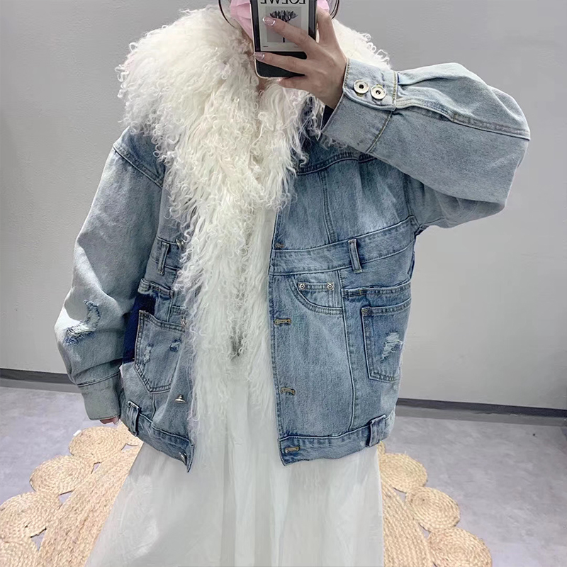 Lynn Eileen cowboy style overcomes womens middle and long beach wool collar cotton liner to make worn-out fur loose coat