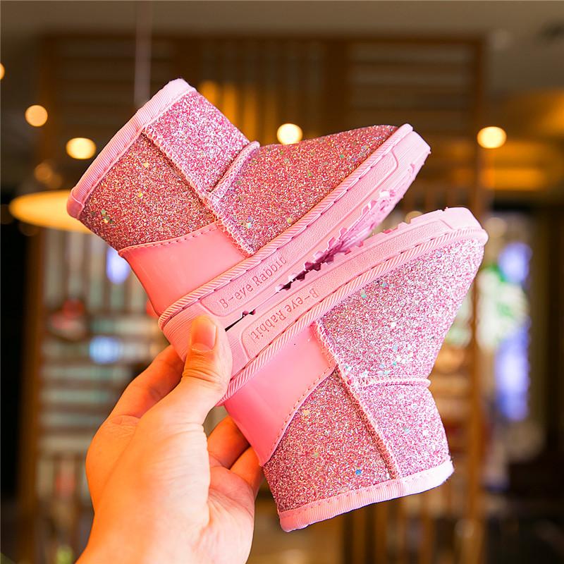 儿童雪地靴2019冬季新款男童棉鞋韩版宝宝保暖靴小公主靴女童短靴