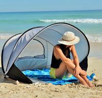 带帘沙滩更衣帐篷三口之家海边防晒遮阳帐篷加大号自动沙滩帐篷