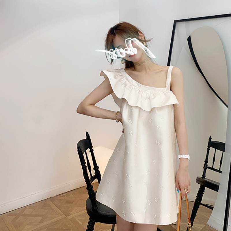 Ruffle Dress for womens 2021 spring and summer French embroidery design white dress