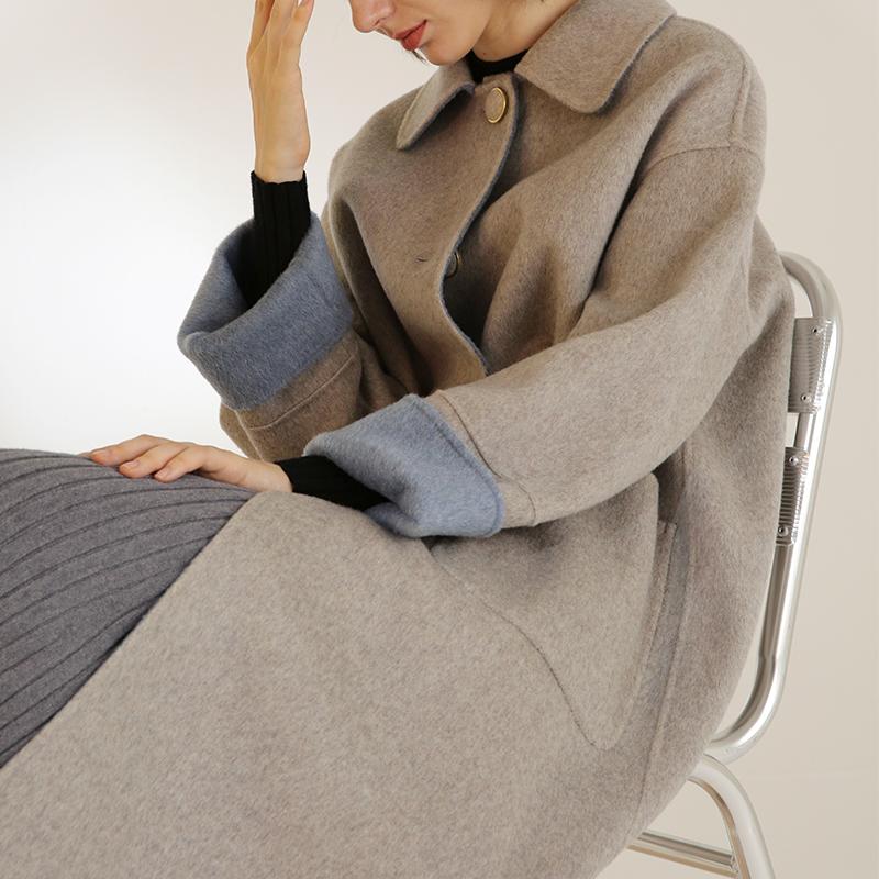 反季清仓秋冬澳毛双面呢大衣女宽松双面羊绒中长款羊毛呢外套呢子