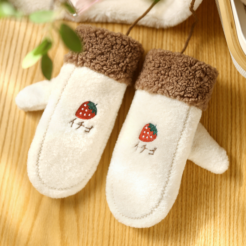 Strawberry gloves for women in winter with fluffy cute Korean student cartoon warm and thickened hanging neck with fingers for winter protection