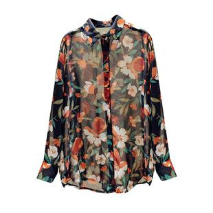 2020秋季新款寬鬆大碼花朵印花雪紡衫長袖氣質百搭防曬衫襯衫女潮