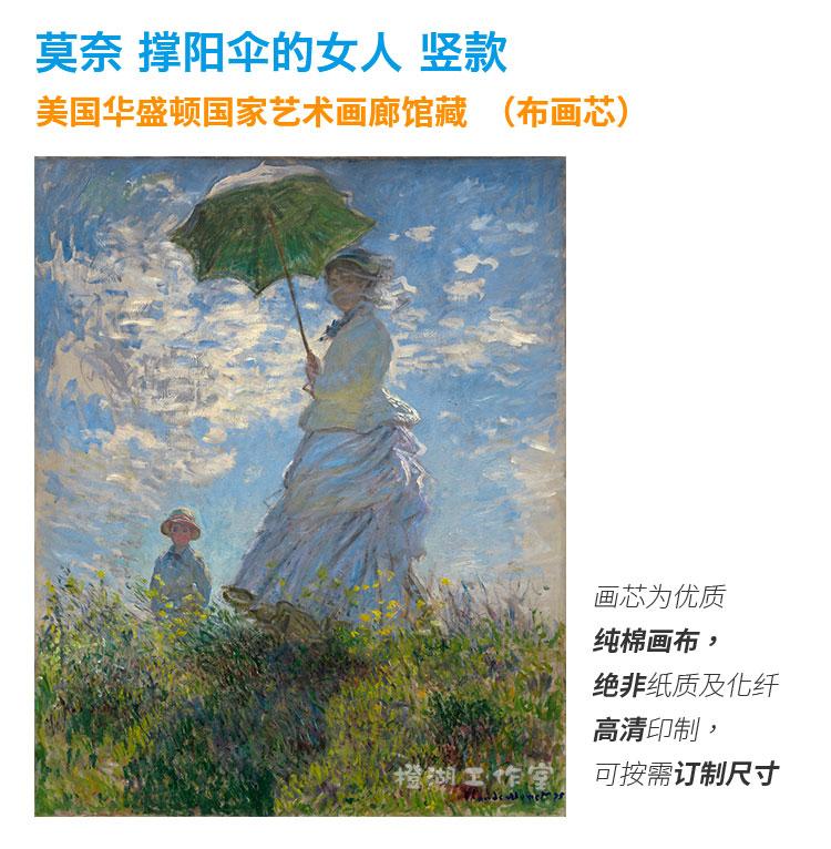 装饰画高清印制油画世界名画芯布画竖款撑阳伞的女人莫奈