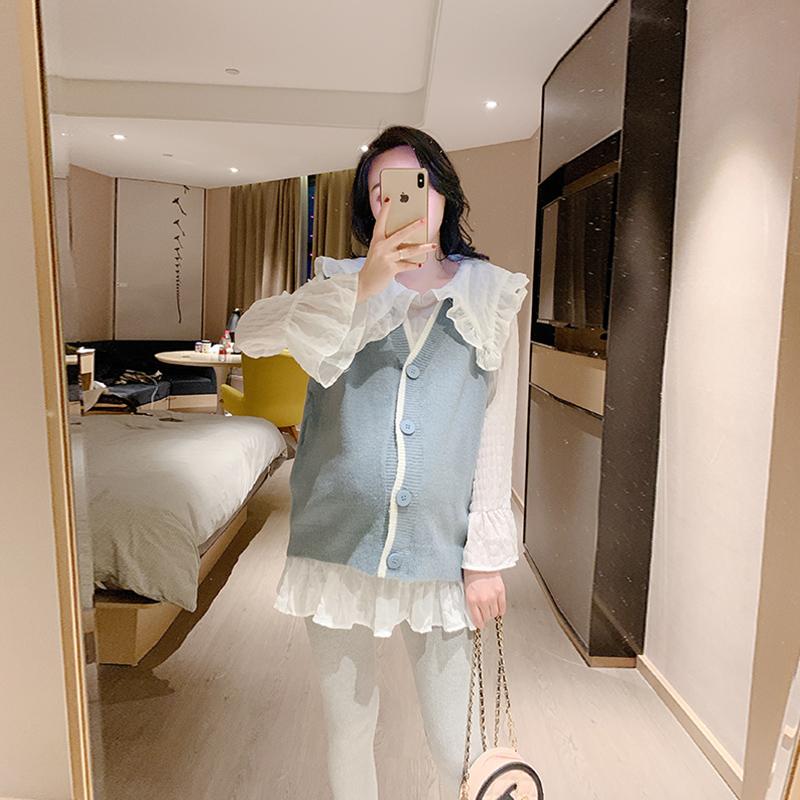 孕妇时尚套装雪纺秋装外出时尚款休闲两件套春秋季潮款孕妇装洋气