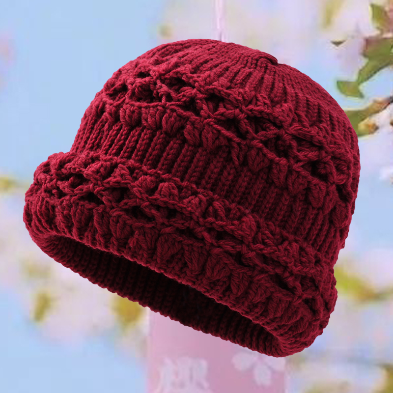 Single layer thin old lady knitted old mans hat