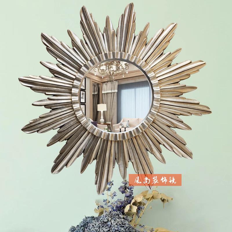 欧式美式客厅壁挂太阳神装饰镜玄关镜子背景墙面大号艺术镜装修镜