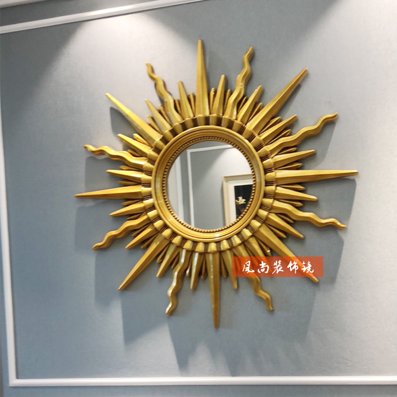 European French American sun wall decoration mirror living room porch wall hanging painting decoration creative dining room hanging mirror