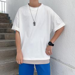 假两件短袖T恤男士夏季新款宽松圆领纯色半袖潮流港风T恤TT63-P30