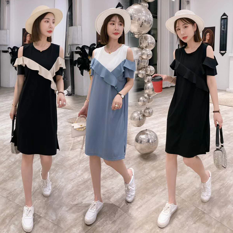 European mid length dress 2020 summer new Ruffle stitched off shoulder skirt loose foreign style thin A-line skirt