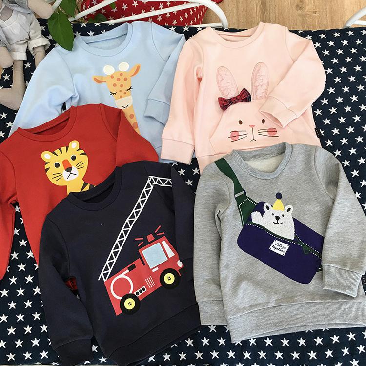 日系小童纯棉毛圈卫衣男女宝宝卡通可爱上衣贴布绣儿童套头衫肩扣