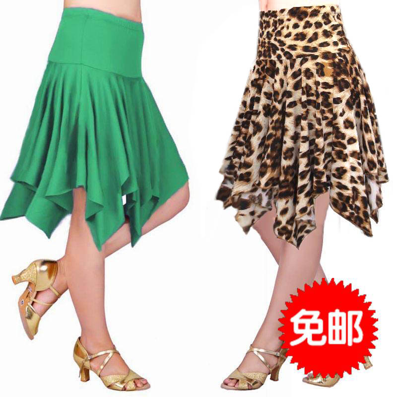 2018 new womens irregular skirt summer leopard ice silk short skirt womens versatile green milk silk dance skirt