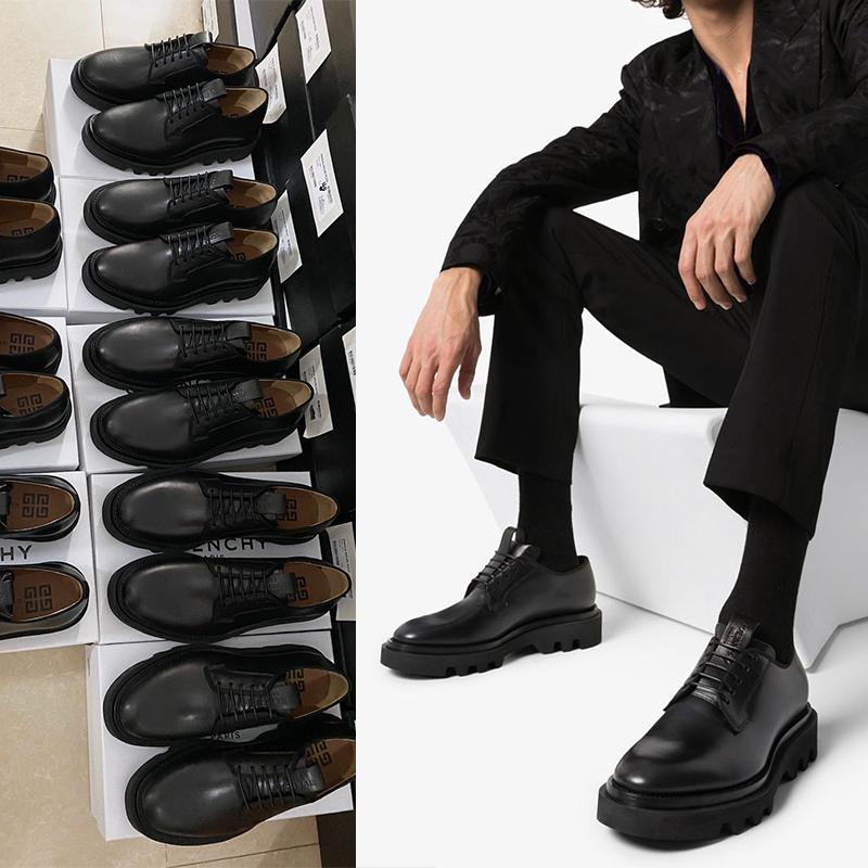 ヨーロッパ駅のハイエンドの男性靴2020新型欧米レジャービジネス徳比里外真皮厚い底の丸い頭G家の靴