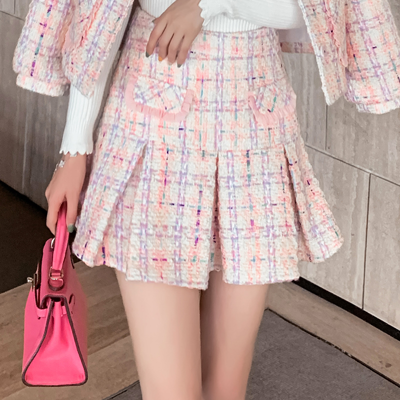 ATAR2019秋季时尚新款小香风修身显瘦半身裙气质甜美百褶裙短裙子