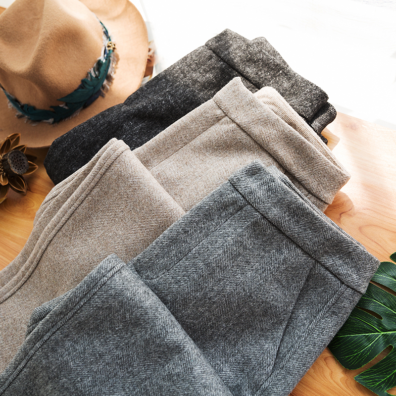 Spring herringbone tapered oatmeal leg pipe retro loose double faced woolen womens pants nine point west Harem