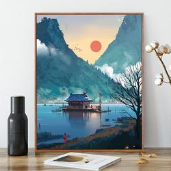 数字油画diy手工动漫填色油彩画客厅风景挂画卡通人物减压装饰画
