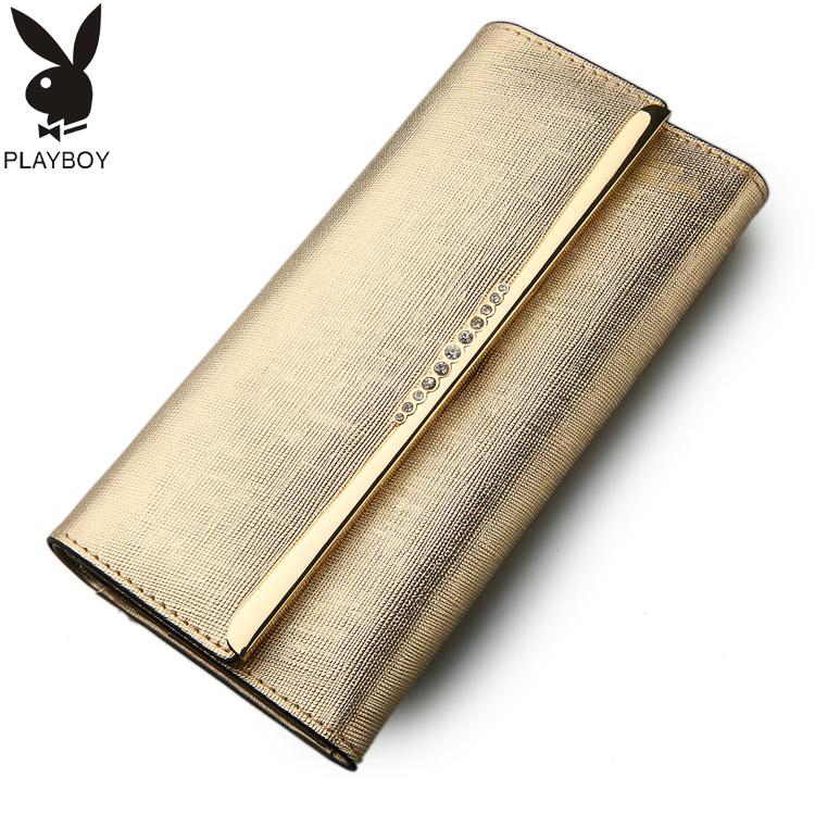 花花公子女士大容量钱包长款 真皮三折牛皮女钱夹韩版 金色手机包