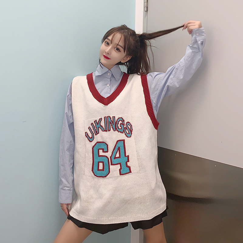 6093 ? real auction price control + 5 academic style loose retro letter Jersey vest sleeveless sweater vest womens fashion