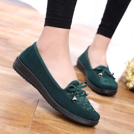 老北京布鞋女夏中老年透气平跟防滑软底奶奶鞋浅口平底舒适妈妈鞋
