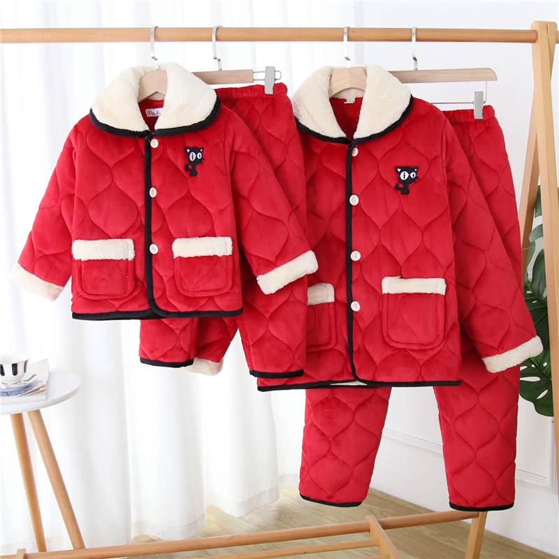 Winter parent-child pajamas mother daughter flannel Plush thickened home suit coral Plush warm girl