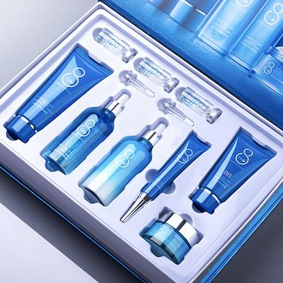 依漾水光八杯水九件套补水保湿学生男女护肤品套装全套旗舰店正品