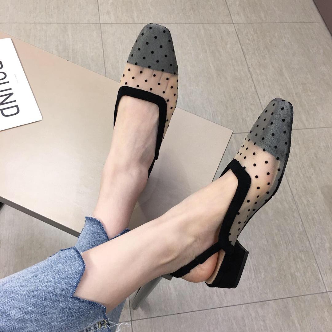 包头凉鞋女仙女风学生粗跟方头2020夏新款网纱波点中跟网红温柔鞋