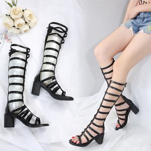 高筒罗马露趾凉靴2020夏新款绑带高跟长筒靴粗跟镂空靴子凉鞋女鞋