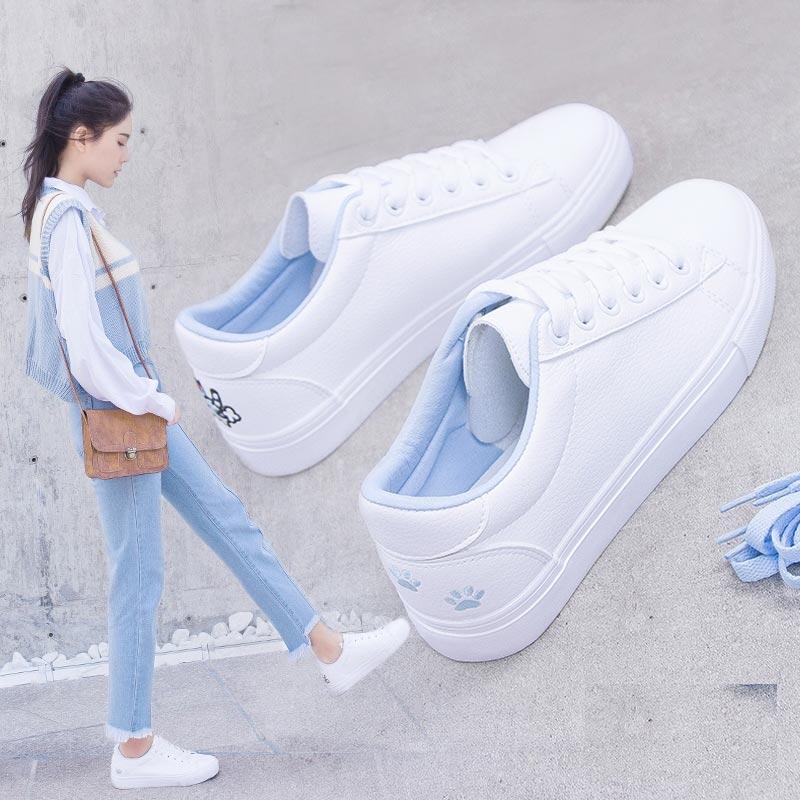 小白鞋女2019新款学生平底休闲百搭帆布鞋皮面板鞋韩版春季透气鞋