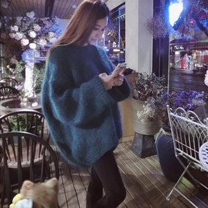 秋冬新款宽松毛衣女外穿2020新款韩版中长款粗毛线网红外套慵懒厚