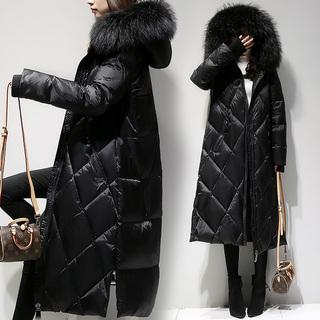 东大门冬季新款黑色羽绒服女装长款过膝2019韩版大毛领白鸭绒外套