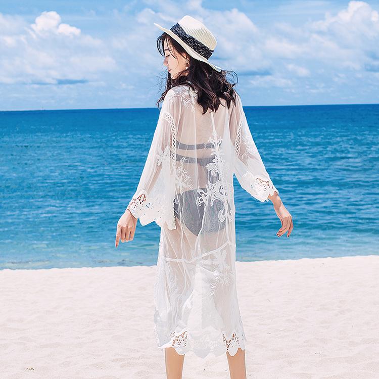 比基尼罩衫女夏2020新款蕾丝开衫中长款裙泳衣防晒外搭裙海边度假
