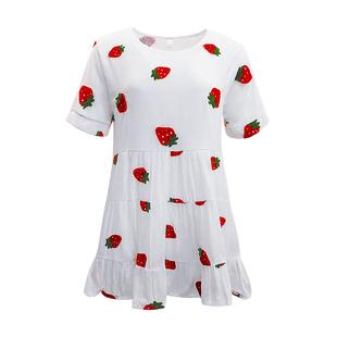 夏季學生短袖軟妹小裙子日系甜美可愛草莓刺繡寬鬆娃娃連衣裙少女