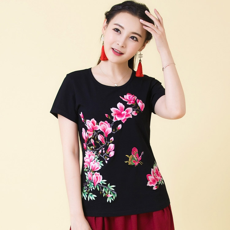 Large black base shirt womens thin loose short embroidered national style top summer cotton knitted short sleeve T-shirt
