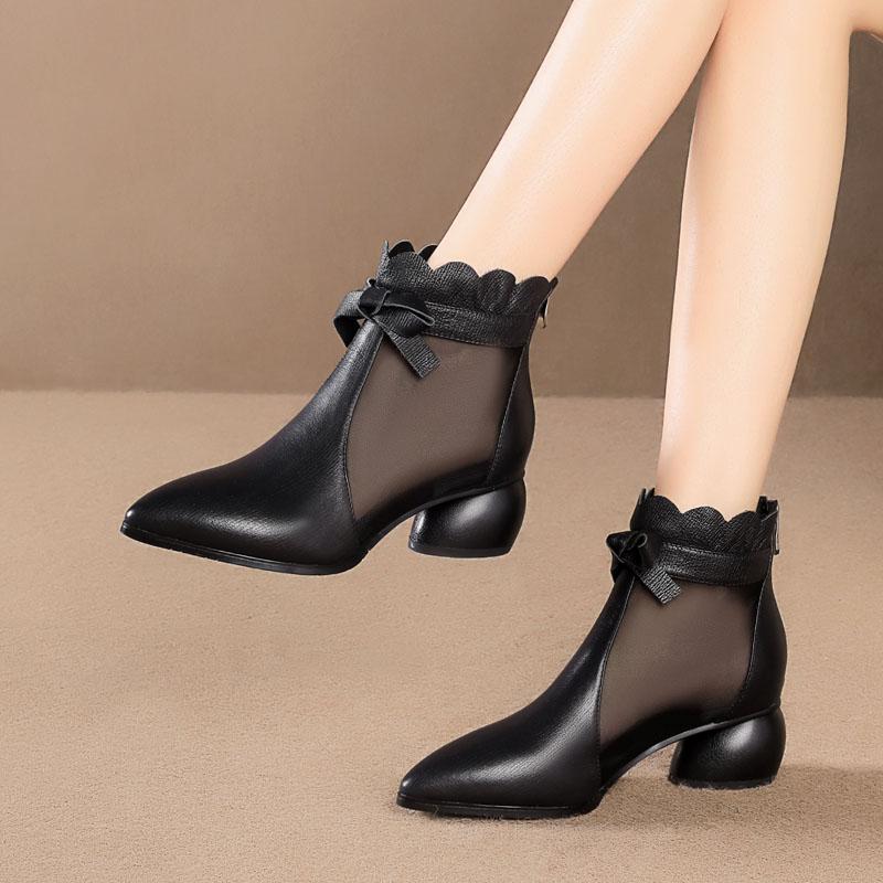 思卡琪尖头网靴女2020春季新款透气网纱短靴中跟粗跟真皮大码鞋子图片