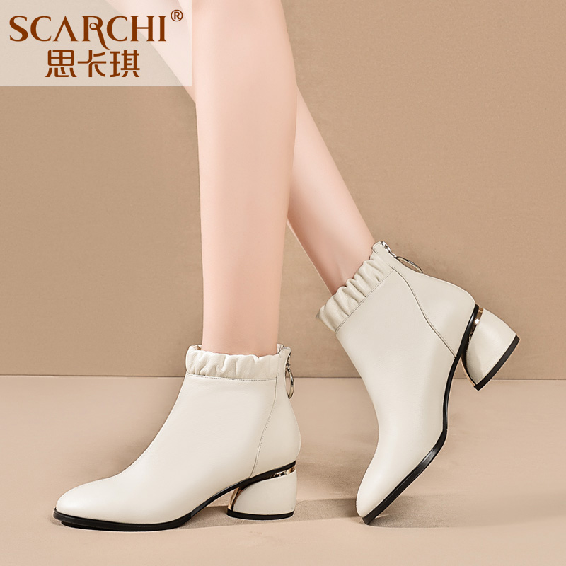 Round head short boots women's thick heels shoes 2019 new women's single Boots White Leather short boots and all kinds of large women's Boots